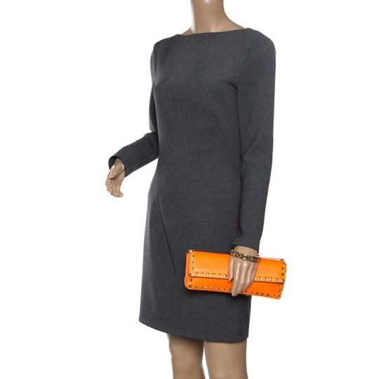 Valentino Leather Bangle Orange Clutch Image 2