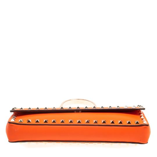 Valentino Leather Bangle Orange Clutch Image 3