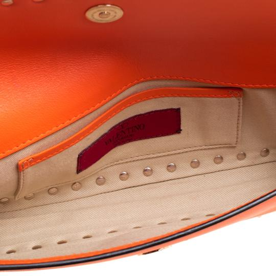 Valentino Leather Bangle Orange Clutch Image 4