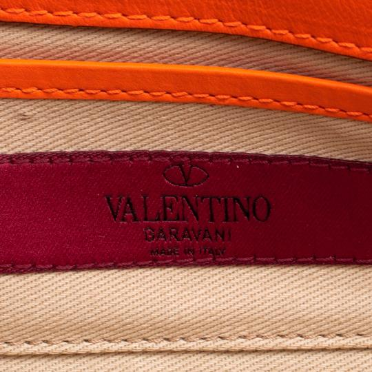 Valentino Leather Bangle Orange Clutch Image 5