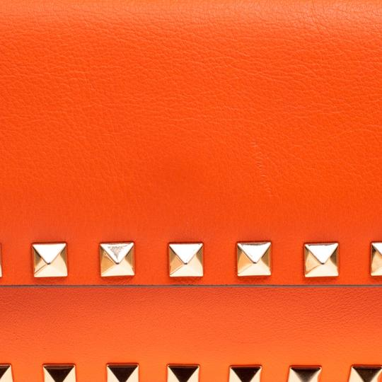 Valentino Leather Bangle Orange Clutch Image 6