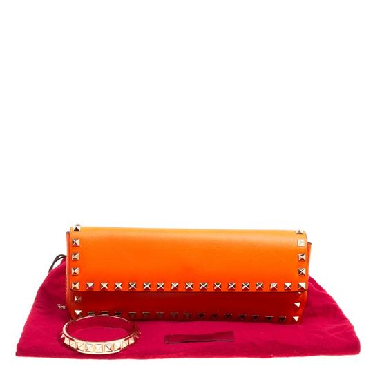 Valentino Leather Bangle Orange Clutch Image 7