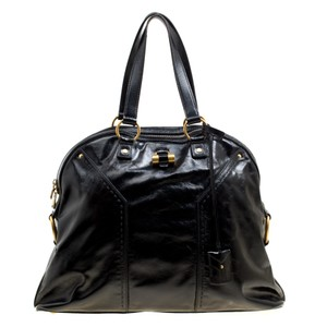 Saint Laurent Leather Muse Satchel in Black