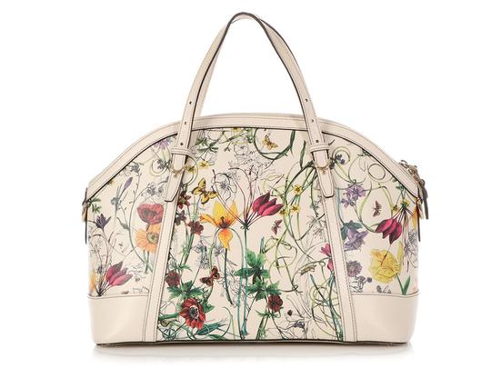 Gucci Gc.q0424.07 Floral Print Gold Hardware Reduced Price Satchel in Multicolor Image 3