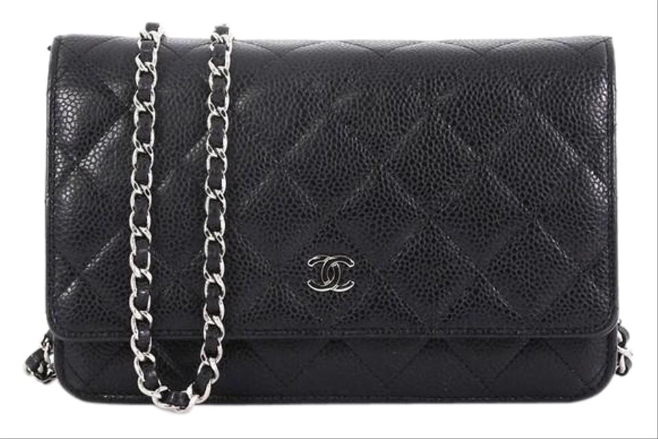 95fd7446d5 Chanel Wallet on Chain Quilted Black Caviar Leather Shoulder Bag ...