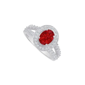 Marco B Oval Ruby and CZ Split Shank Ring in 14K White Gold