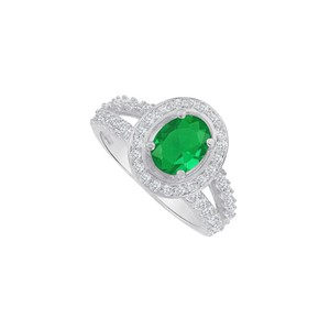 Marco B Split Shank Oval Emerald and CZ Ring in 14K White Gold