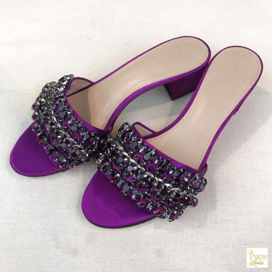 Tory Burch Beverly Crystal Purple Sandals Image 1