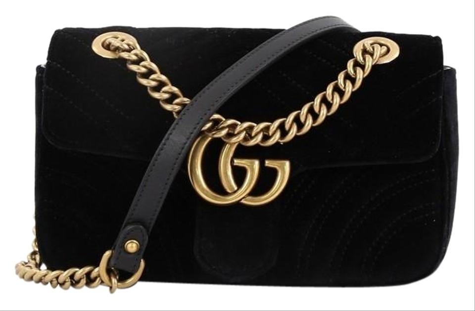 0eab331da Gucci Flap Marmont Gg Matelasse Small Black Velvet Shoulder Bag ...