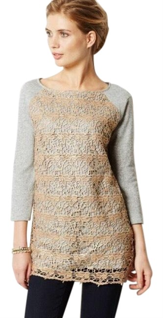 Preload https://img-static.tradesy.com/item/25494259/anthropologie-lace-overlay-sweatshirt-sweater-0-1-650-650.jpg