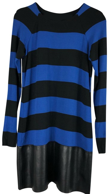 Preload https://img-static.tradesy.com/item/25494357/bailey-44-black-blue-striped-with-leather-skirt-short-casual-dress-size-12-l-0-1-650-650.jpg