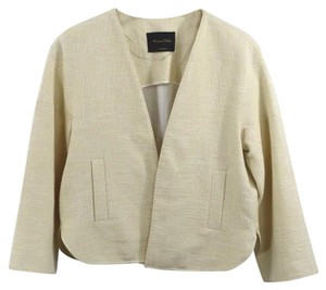 Massimo Dutti Tweed Metallic Fall Work Spring IVORY/ GOLD Blazer
