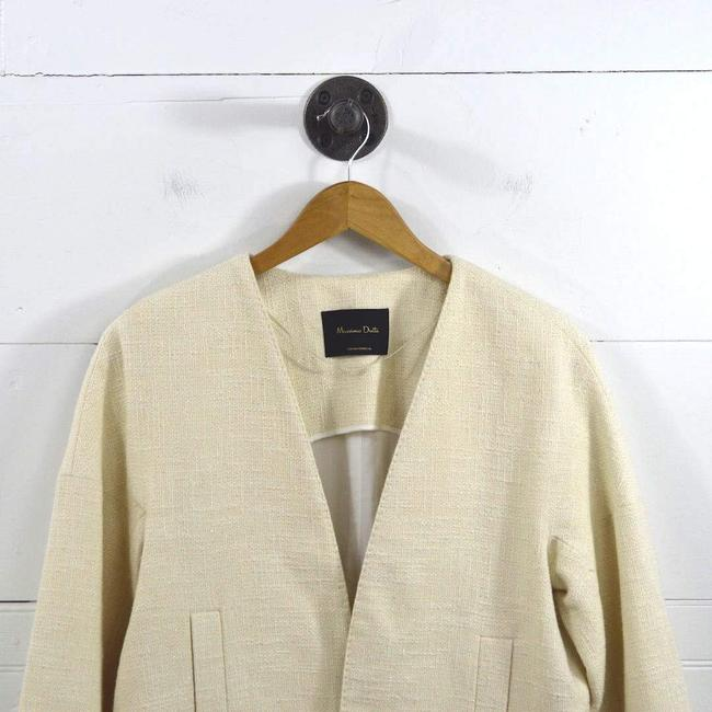 Massimo Dutti Tweed Metallic Fall Work Spring IVORY/ GOLD Blazer Image 1