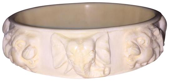 Unique Vintage ANTIQUE pre-ban Ivory CIRCUS/faces BRACELET LARGE SIZE Image 0