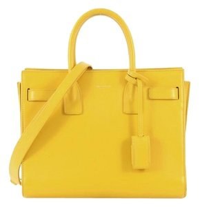 Saint Laurent Sacdejour Leather Satchel in Yellow