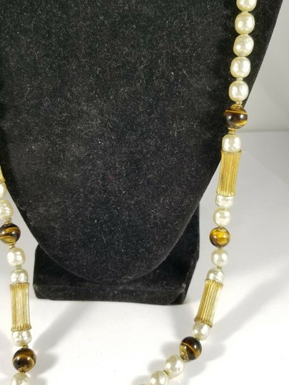 Miriam Haskell Vintage Miriam Haskell Faux Pearl Tigers Eye Bead Necklace 28