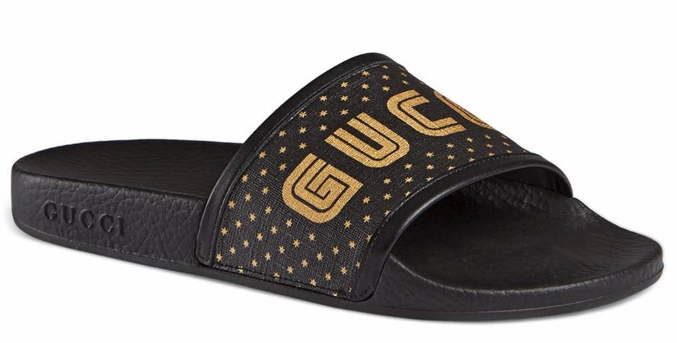 free delivery best deals on half price Gucci Black Gold Printed Pool Slides B700 Sandals Size EU 34 (Approx. US 4)  Regular (M, B) 24% off retail
