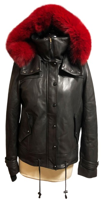 Item - Black and Red Leather Anorak Parka with Fox S Coat Size 4 (S)