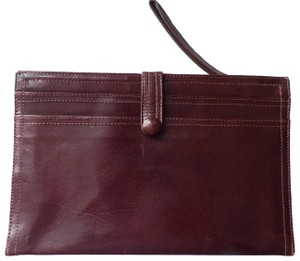Bottega Veneta Leather Burgundy Clutch