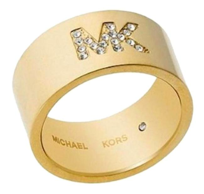 Michael Kors Gold Tone Barrel Band Rhinestone Logo Size 7 Ring Michael Kors Gold Tone Barrel Band Rhinestone Logo Size 7 Ring Image 1