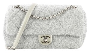 Chanel Quilted Glitter Flapbag Satchel in Silver