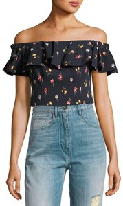 Rebecca Taylor Off The Shoulder Crop Floral Print Top Navy and Multi-colored