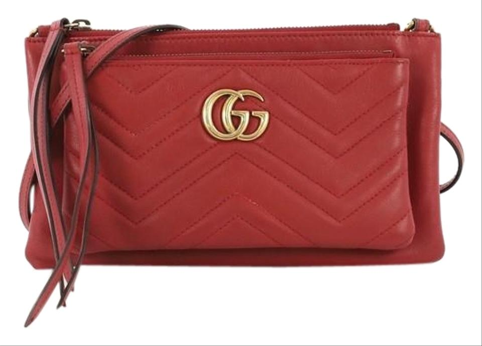 a6a47ac42 Gucci Marmont Gg Pochette Matelasse Small Red Leather Cross Body Bag ...