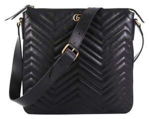 f068e58af Added to Shopping Bag. Gucci Marmont Leather Medium Black Messenger Bag