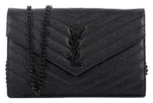 Saint Laurent Wallet Monogram Matelasse Leather Satchel in Black