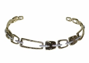 Alexis Bittar limited gold tone crystals hammered choker necklace , new