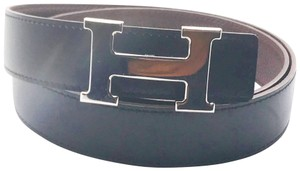 Hermès Hermes Constance 32mm Silver H Bucket Black Brown Reversible Belt 90cm