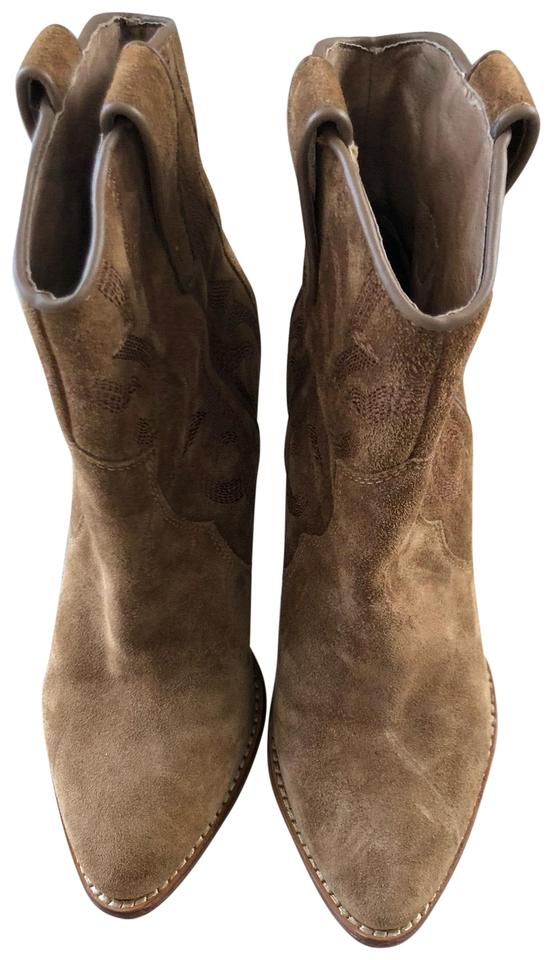 f3135236a2a Tan Suede Cowboy Boots/Booties
