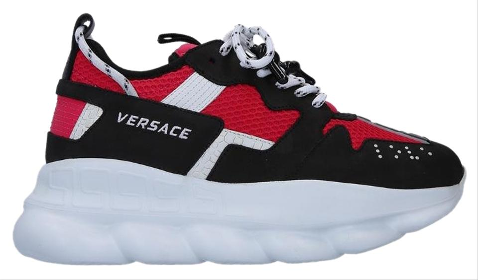 Versace Red & Black Chain Reaction Sneakers Size EU 37 5 (Approx  US 7 5)  Regular (M, B)