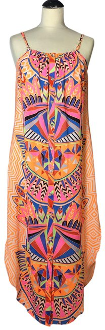 Item - Multi-colored Neon Orange Printed Summer Long Casual Maxi Dress Size 8 (M)
