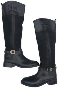 Tory Burch #simone #ridingboot #ridingboots Black/gold Boots