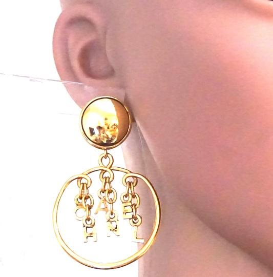 Chanel Rare CC Logo spelled out drop gold dangle clip on earrings Image 1