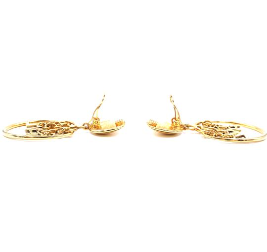 Chanel Rare CC Logo spelled out drop gold dangle clip on earrings Image 11