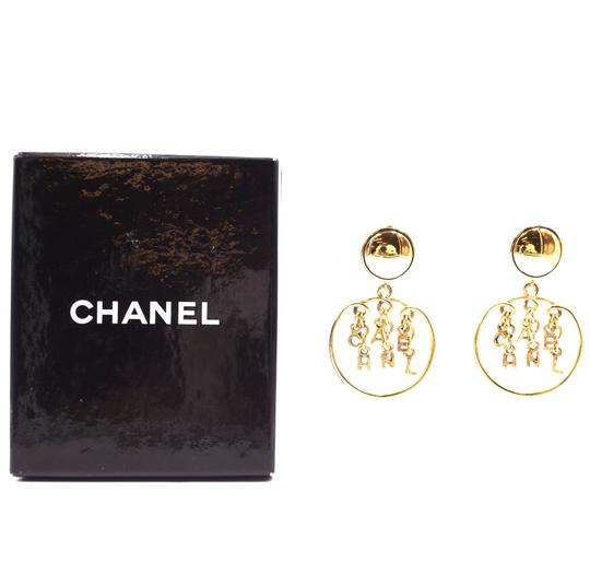Chanel Rare CC Logo spelled out drop gold dangle clip on earrings Image 2