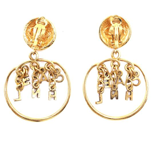 Chanel Rare CC Logo spelled out drop gold dangle clip on earrings Image 4