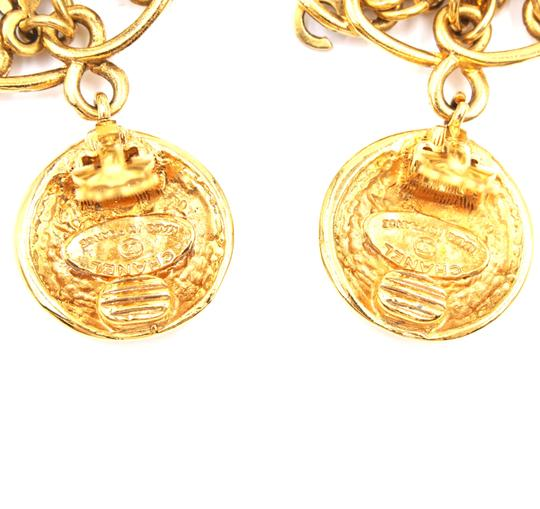 Chanel Rare CC Logo spelled out drop gold dangle clip on earrings Image 5