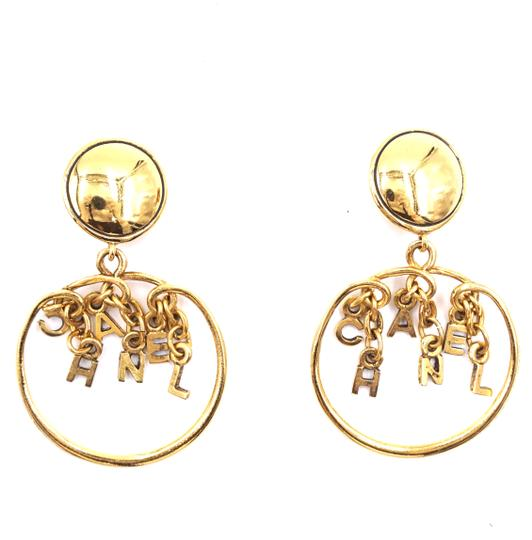 Chanel Rare CC Logo spelled out drop gold dangle clip on earrings Image 6