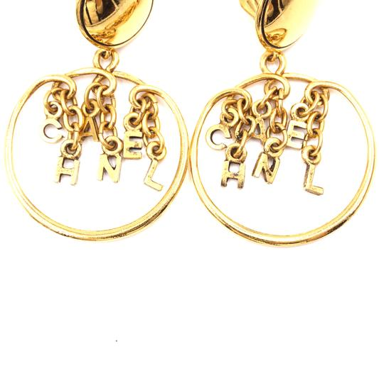 Chanel Rare CC Logo spelled out drop gold dangle clip on earrings Image 7