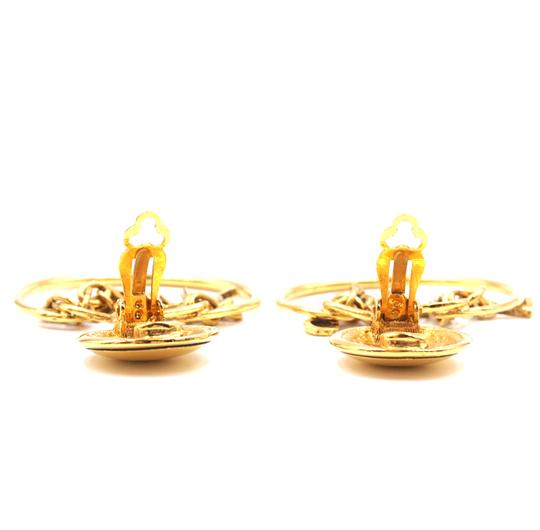 Chanel Rare CC Logo spelled out drop gold dangle clip on earrings Image 9