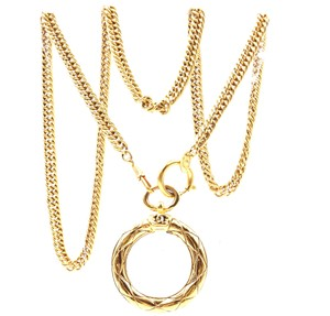 Chanel Extremely RARE CC XL Magnifying glass long chain Quilted gold necklace