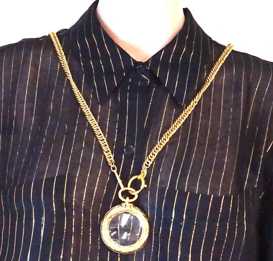 Chanel Extremely RARE CC XL Magnifying glass long chain Quilted gold necklace Image 1