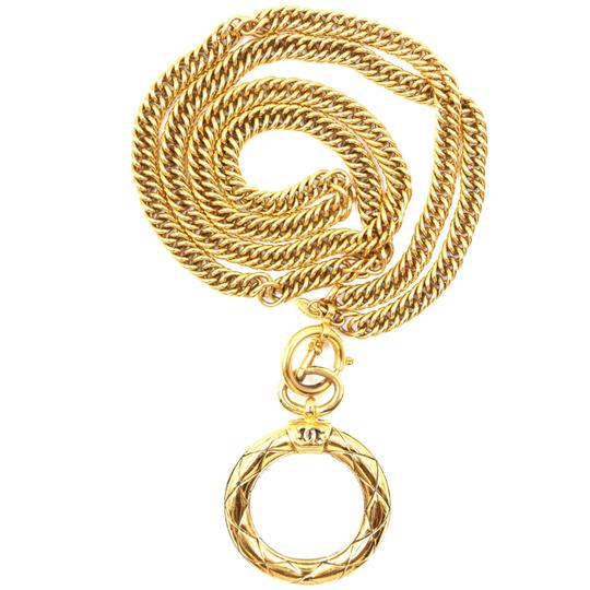 Chanel Extremely RARE CC XL Magnifying glass long chain Quilted gold necklace Image 3