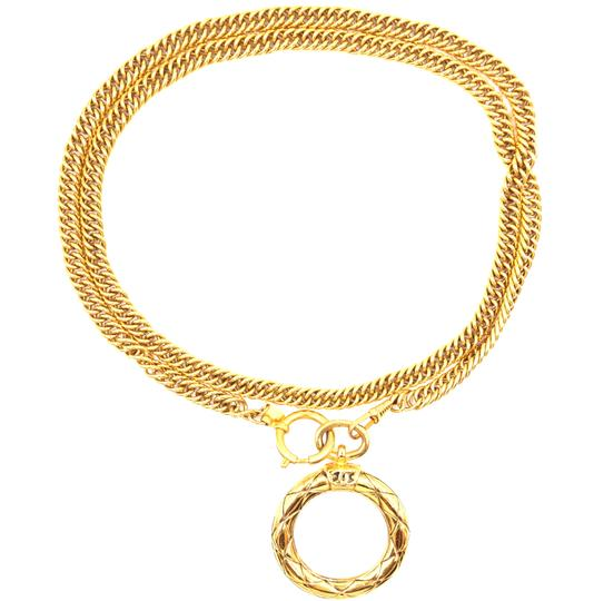 Chanel Extremely RARE CC XL Magnifying glass long chain Quilted gold necklace Image 4