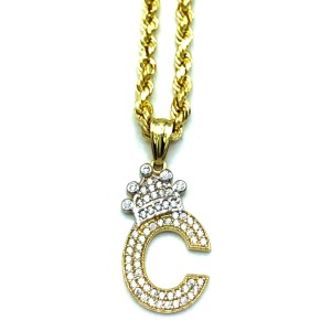Other (2000) 10K Yellow Gold Rope Chain With Initial C Charm