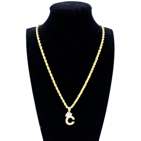 Other (2000) 10K Yellow Gold Rope Chain With Initial C Charm Image 1