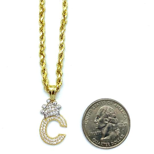 Other (2000) 10K Yellow Gold Rope Chain With Initial C Charm Image 2